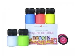 Набор акриловых красок Decola, флуоресцентный, 6 цветов 20 мл