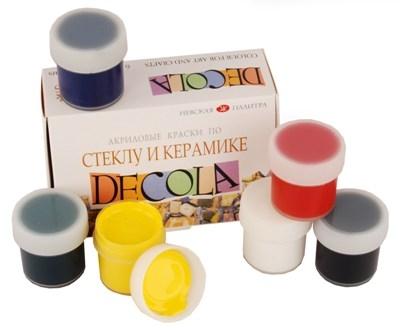 Акриловые краски Deсola по стеклу и керамике 6 цветов 20 мл, НАБОР