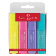 Маркеры Faber-CastellTextliner 46 Superflourescent + Pastel разноцветные 4 шт