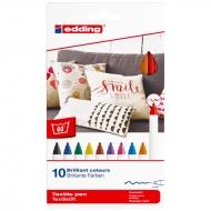 Маркеры для ткани Edding Textile Classic 4600 1 мм набор 10 цветов