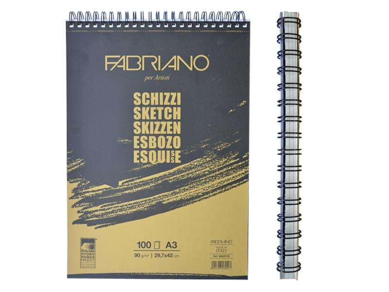Альбом для эскизов на спирали Schizzi Sketch Fabriano A3 (29,7x42 см) 90г/м2 100 л. (56629742)