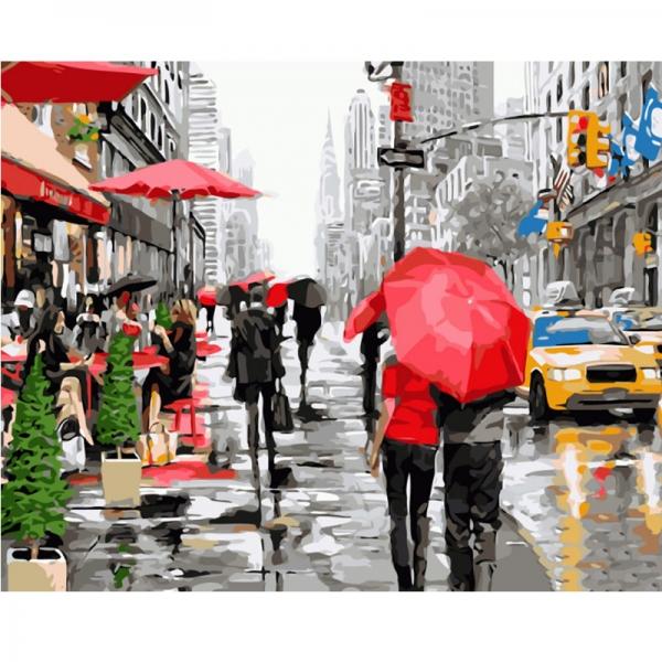 Картина по номерам BrushMe 40*50см Дождь в Нью-Йорке (PGX8091)
