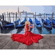 Картина по номерам BrushMe 40*50см Девушка у причала Венеции (PGX24895)