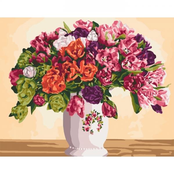 """Картина по номерам Идейка 40х50см  """"Пышные тюльпаны"""""""