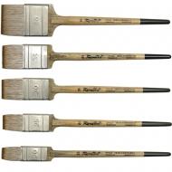 Кисть флейц синтетика имитация мангуста Roubloff 5T24C плоская деревян ручка в ассортименте