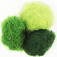 """Набор шерсти для валяния """"Зеленые оттенки"""" 3 цвета по 10 г (K5017,К5006, K5007)"""