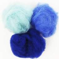 """Набор шерсти для валяния """"Синие оттенки"""" 3 цвета по 10 г (K6014, K6017, K6005)"""