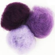 """Набор шерсти для валяния """"Фиолетовые оттенки"""" 3 цвета по 10 г (К4025, К4014, К4026)"""