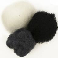 """Набор шерсти для валяния """"Черно белые оттенки"""" 3 цвета по 10 г (К1000, К1010, К1008)"""