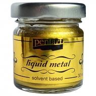 Краска с эффектом жидкого металла на основе растворителя Pentart 30 мл Античное золото