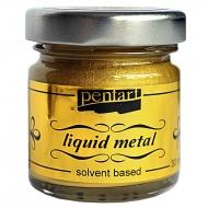 Краска с эффектом жидкого металла на основе растворителя Pentart 30 мл Золото