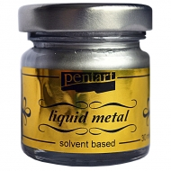 Краска с эффектом жидкого металла на основе растворителя Pentart 30 мл Серебро