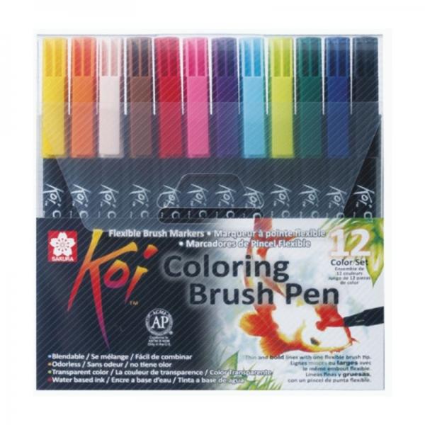 Набор маркеров Sakura Koi Coloring Brush Pen, 12 цветов