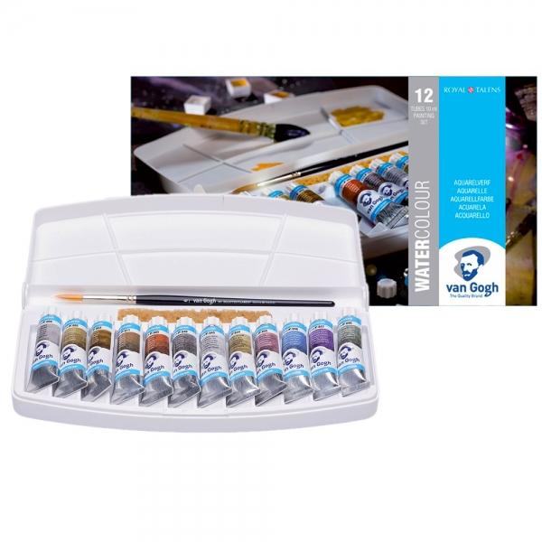 Набор акварельных красок VAN GOGH Specialty 12 туб по 10 мл + кисть в пластиковом пенале