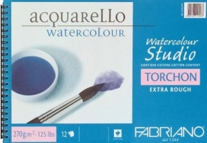 Альбом для акварели на спирали Watercolor Studio A5 (13,5х21см), 270г/м2, 12л, торшон, Fabriano