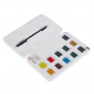 Набор акварельных красок VAN GOGH 2,5 мл кюветы 12 цв + кисть, метал (20838612)