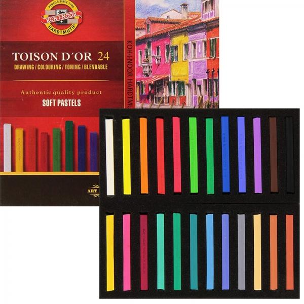 Мел-пастель сухая TOISON D'OR, 24 цвета, KOH-I-NOOR