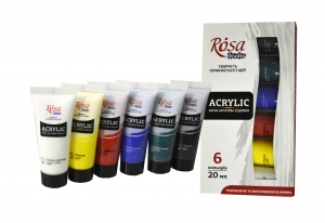 Набор акриловых красок ROSA Studio, 6 цветов 20 мл