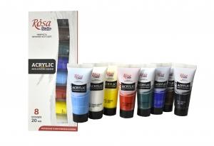 Набор акриловых красок ROSA Studio, 8 цветов 20 мл