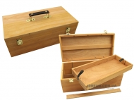 Пенал для художественных материалов, деревянный (вяз), 40х20х15см