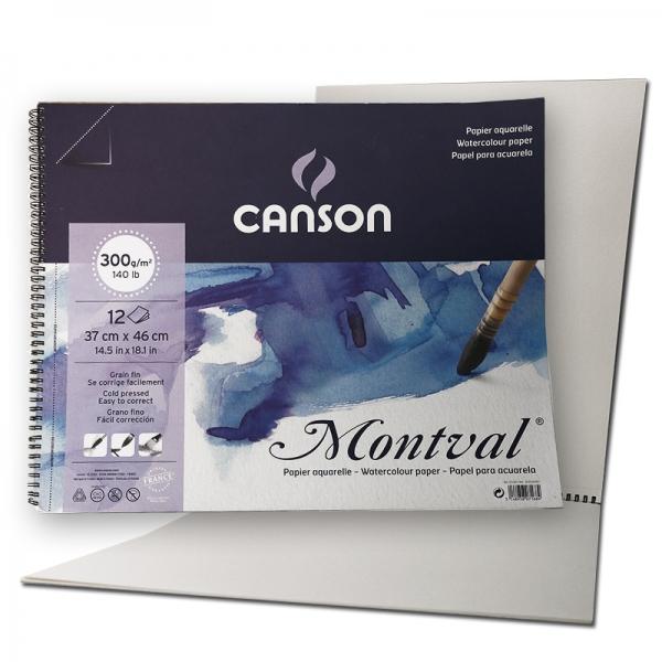 Альбом бумаги для акварели на спирали Montval (12) 300 г/м2 37х46 см