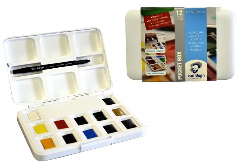 Краски акварельные VAN GOGH, Pocket box, 12 цветов + кисть