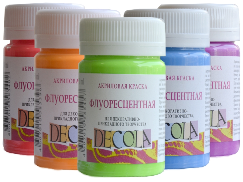 Краски акриловые флуоресцентные Decola, 50 мл