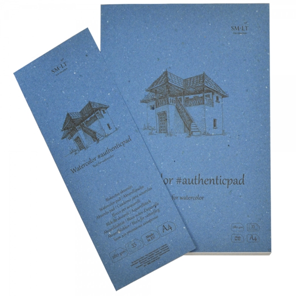 Склейка для акварели в папке SMILTAINIS AUTHENTIC A4 280г/м2 35л SMILTAINIS