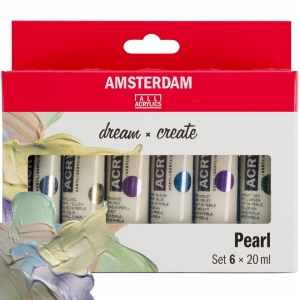 Набор акриловых красок AMSTERDAM STANDARD перламутр 6 цветов 20 мл тубы  в картоне (17820506)