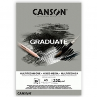 Блок бумаги для миксованные техник Canson Graduate Mix Media Grey А5 14,8х21 220 г/м2 см 30 л. (0110-370)