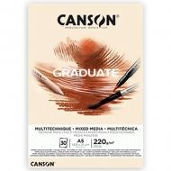 Блок бумаги для миксованных техник Canson Graduate Mix Media Natural 220 гр А5 14,8х21 см 30 л. (0110