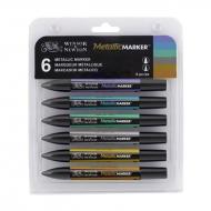 Набор двухсторонних маркеров Winsor&Newton BrushMarkers, Металлик, 6 цветов