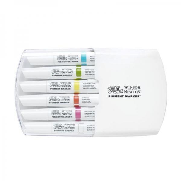 Набор двухсторонних маркеров, Pigment marker, Яркие тона, 6 цветов
