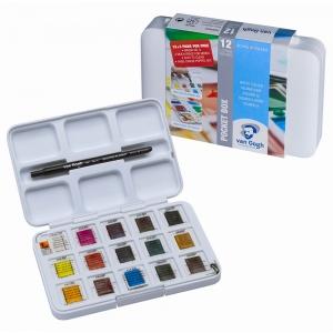 Набор акварельных красок VAN GOGH Pocket box 2,5 мл кюветы 12 цв  + 3 БЕСПЛАТНО (20808632)