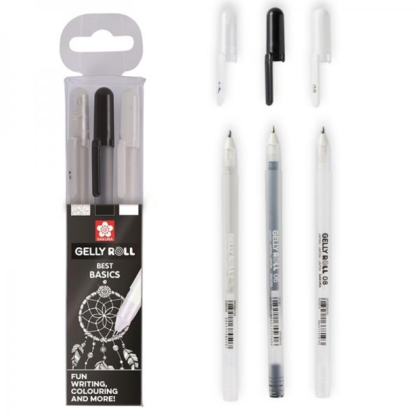 Набор гелевых ручек BASIC черная-белая-прозрачная 3 шт Sakura