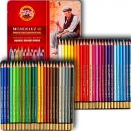 Набор цветных акварельных карандашей Mondeluz в металлическом пенале 48 шт.