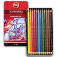 Карандаши цветные художественные POLYCOLOR в метале 12 цветов