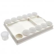 Палитра пластиковая прямоугольная с лунками 20,5х15х3см.+ 12 баночек (18132), D.K.ART & CRAFT