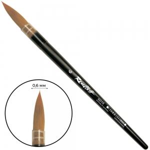 Кисть колонок микс круглая короткая матовая ручка пластиковая обойма Roubloff №6 (ЖD1-06,05П)