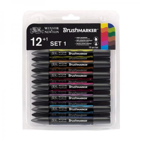 Набор двухсторонних маркеров, Brushmarker, Яркие, 12 цв., W&N