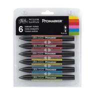 Набор двухсторонних маркеров Winsor&Newton Promarker  (яркие тона), 6 цветов