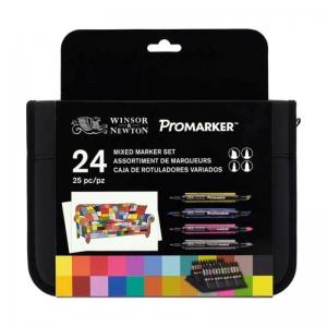Набор двусторонних маркеров Winsor&Newton Микс (Brushmarker, Promarker, Neon, Metalik) 24 цвета