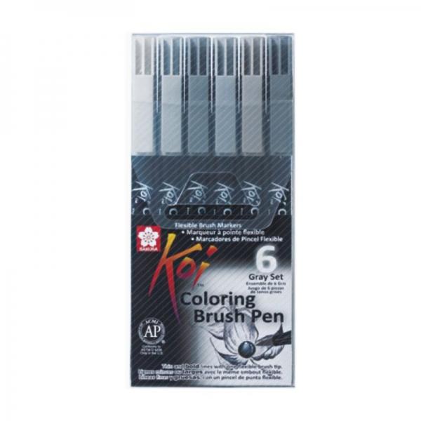 Набор маркеров Sakura Koi Coloring Brush Pen, GRAY 6 цветов