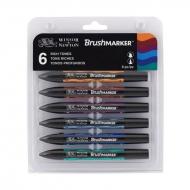 Набор двухсторонних маркеров, Brushmarker, Сочные тона, 6 цв., W&N