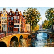Полотно на картоне с контуром Города Амстердам №2 30*40 ROSA