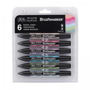 Набор двухсторонних маркеров Winsor&Newton Brushmarker, пастельные тона, 6 цветов