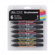 Набор двухсторонних маркеров, Brushmarker, Средние тона, 6 цв., W&N