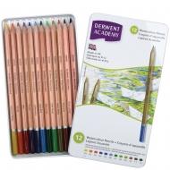 Набор акварельных карандашей Academy Watercolour 12шт, в металлическом кейсе, Derwent