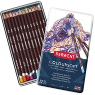Набор цветных карандашей Coloursoft 12шт. мет. коробка, Derwent