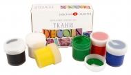 Краски акриловые для росписи по ткани Decola 6 цветов 20мл, НАБОР
